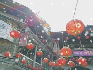 風景 背景 屋外 素材 雪 合成 海外 トラベル 旅 旅行 アジア 台湾 九份の写真素材 [FYI01170391]