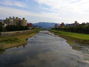風景 背景 川 山 街 河川敷 橋 トラベル 海外 旅 旅行 アジア 台湾 素材の写真素材 [FYI01170526]