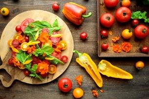 ルッコラとトマトのサラダと野菜の写真素材 [FYI01170963]