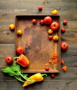 錆びたトレーとパプリカとトマトの写真素材 [FYI01170967]