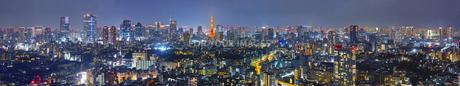 東京の夜景(パノラマ)の写真素材 [FYI01171907]