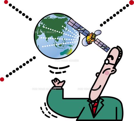 人工衛星と情報通信のイラスト素材 [FYI01172244]