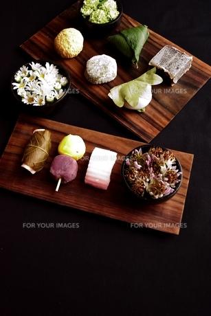 板に盛り合わせた和菓子と小菊の写真素材 [FYI01172478]