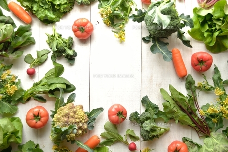 野菜いろいろ フレーム 白木材背景の写真素材 [FYI01172551]
