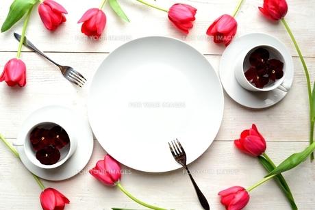 赤いチューリップと白いペアのコーヒーカップと白皿 白木材背景の写真素材 [FYI01172923]