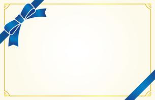 青いリボンのカードフレームのイラスト素材 [FYI01173110]