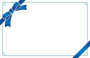 青いリボンのカードフレームのイラスト素材 [FYI01173111]