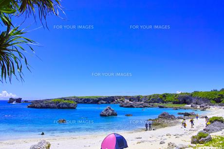 真夏の宮古島、中の島ビーチの景観の写真素材 [FYI01173132]