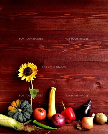 夏野菜と向日葵 茶色木材背景の写真素材 [FYI01173514]
