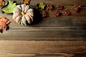 南瓜と落葉 黒木材背景の写真素材 [FYI01173593]