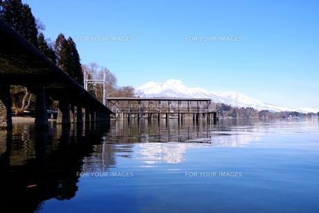 湖 桟橋の写真素材 [FYI01174486]