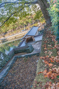 秋の福井城跡の山里口御門跡の風景の写真素材 [FYI01174931]