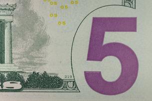 5ドル紙幣 ロゴの写真素材 [FYI01176133]