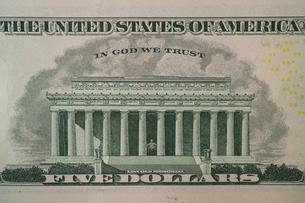5ドル紙幣 IN GOD WE TRUSTの写真素材 [FYI01176134]