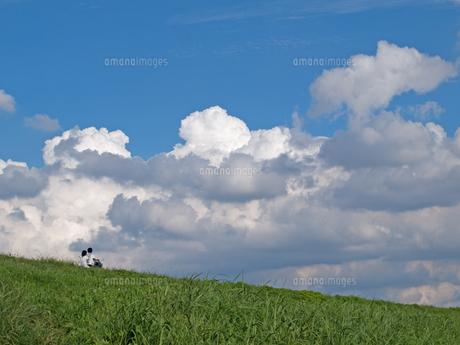 土手と雲の写真素材 [FYI01176663]