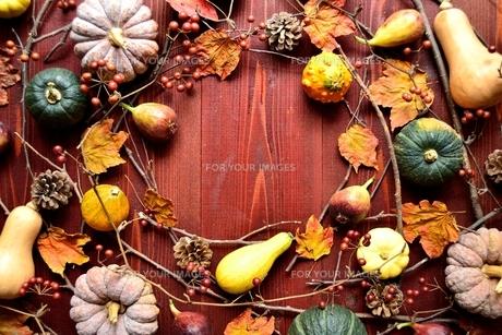 かぼちゃと枯葉のフレーム 茶色木材背景の写真素材 [FYI01176685]
