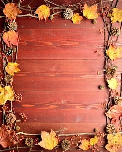 まつぼっくりと枯葉のフレーム 茶色木材背景の写真素材 [FYI01176701]