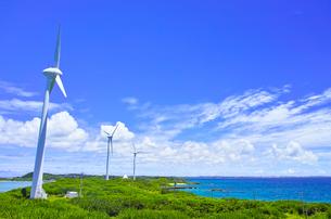 真夏の宮古島。西平安名岬の池間大橋展望台から見た風力発電のある風景の写真素材 [FYI01176931]