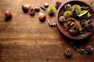 木製ボウルに盛った毬栗 木材背景の写真素材 [FYI01177133]