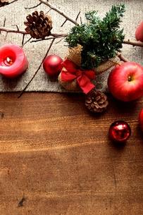 林檎とミニクリスマスツリー ニット生地背景の写真素材 [FYI01177361]
