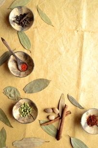 スパイスとインド料理食材 インディアンベイリーフ背景の写真素材 [FYI01177609]