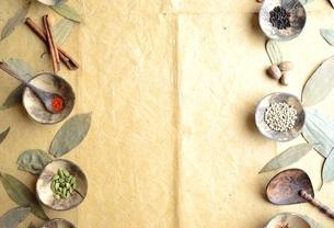 小皿に盛ったスパイス インディアンベイリーフ背景の写真素材 [FYI01177610]