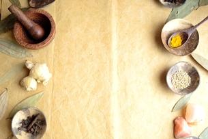 小皿に盛ったスパイス インディアンベイリーフ背景の写真素材 [FYI01177611]