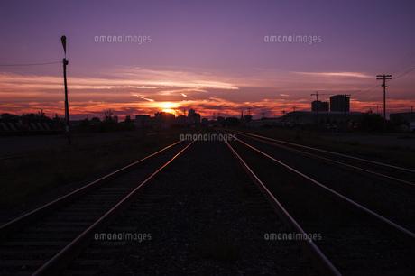 夕日 サンセット 線路 マジックアワー 風景の写真素材 [FYI01177837]