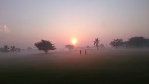 朝靄の中のゴルファーの写真素材 [FYI01179205]