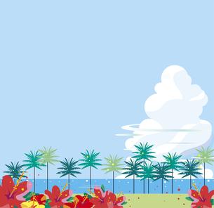 ハイビスカスが咲く南国の海岸のイラスト素材 [FYI01180400]