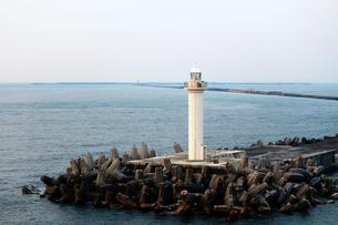 夕暮れ時の港の灯台の写真素材 [FYI01180945]