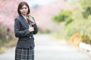 桜と証書筒を持った女学生の写真素材 [FYI01181588]