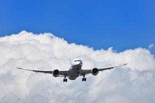 着陸態勢の旅客機の写真素材 [FYI01182006]