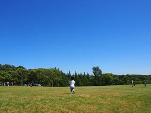 晴れた日に芝生の広場でシャボン玉をして遊ぶ子供の写真素材 [FYI01183453]