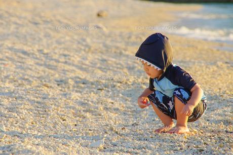 砂浜遊ぶ子供の写真素材 [FYI01183701]