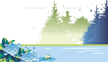 紫陽花とカエルと森の風景のイラスト素材 [FYI01184062]