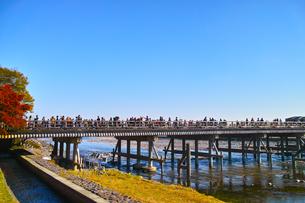 観光客で賑わう紅葉シーズンの渡月橋の写真素材 [FYI01185202]