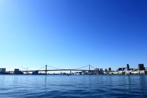 東京湾レインボーブリッジの遠景の写真素材 [FYI01186915]