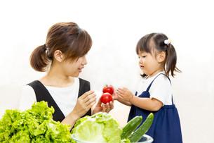 親子でサラダの準備をするイメージの写真素材 [FYI01187953]