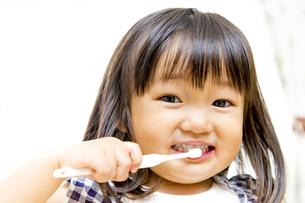 一人歯磨きする幼い女の子の写真素材 [FYI01187975]
