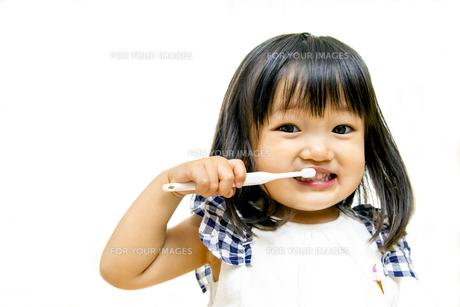 一人歯磨きする幼い女の子の写真素材 [FYI01187976]