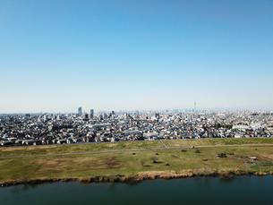 市川市の江戸川上空からの空撮の写真素材 [FYI01188881]