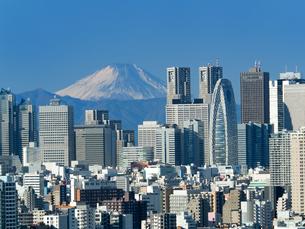 新宿高層ビル街と富士山の写真素材 [FYI01189043]