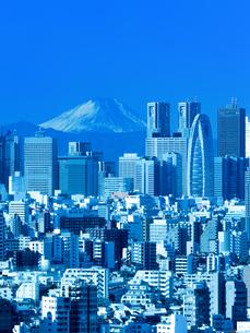 新宿高層ビル街と富士山の写真素材 [FYI01189047]