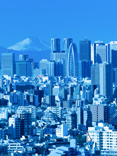 新宿高層ビル街と富士山の写真素材 [FYI01189049]