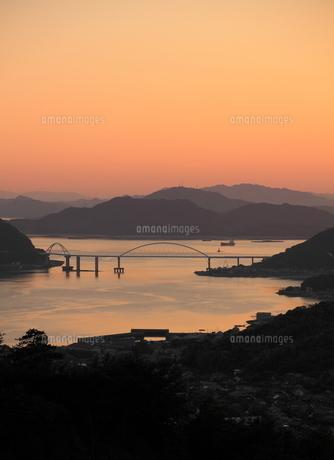 鞆の浦からの夕焼けの写真素材 [FYI01189285]