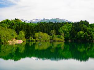 新潟県魚沼市の鏡ヶ池からの守門岳の写真素材 [FYI01190147]