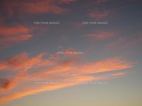 夜明け前の抽象画のような色合いの空の写真素材 [FYI01190478]