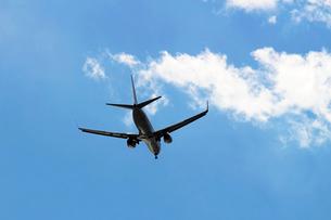 青空を飛ぶ飛行機の後ろ姿の写真素材 [FYI01190632]