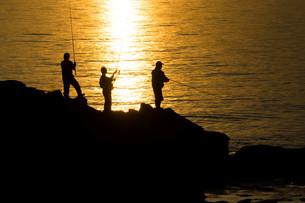 夕暮れの海辺と磯釣りの写真素材 [FYI01190928]